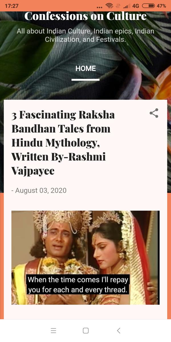 #RakshaBandhan2020 I have just posted #myblog check this outhttps://indianculturecivilization.blogspot.com/2020/08/3-fascinating-raksha-bandhan-tales-from.html…pic.twitter.com/jhOgb3G9pC