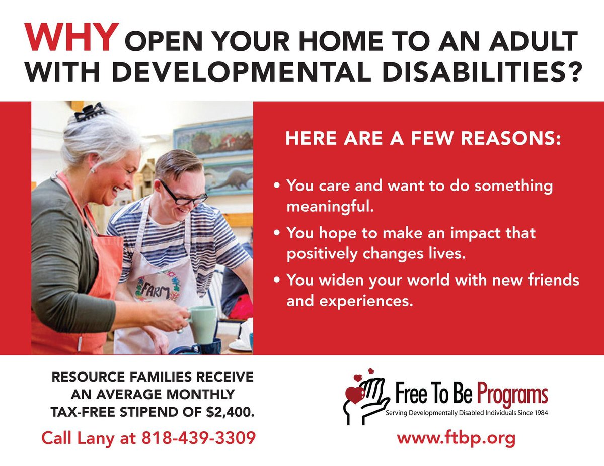You can foster children or support adults with developmental disabilities. Though you do not need to be married or partnered to foster or adopt, if you are, the $2400 tax free monthly stipend can sometimes enable one partner to stay at/work from home. #Options. #Selfemployedlife pic.twitter.com/C0SH4Wj76a
