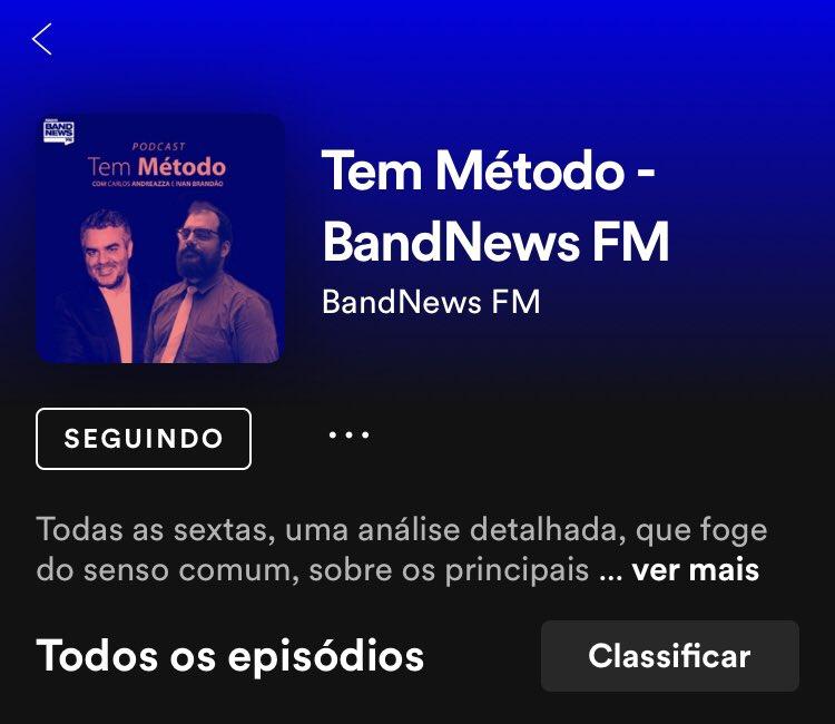 Melhor podcast de conteúdo político semanal da atualidade na minha opinião!!! Parabéns!! @andreazzaeditor 👏🏼👏🏼 #TemMetodo #BandNewsFM #Andreazza https://t.co/CHa076rf2T
