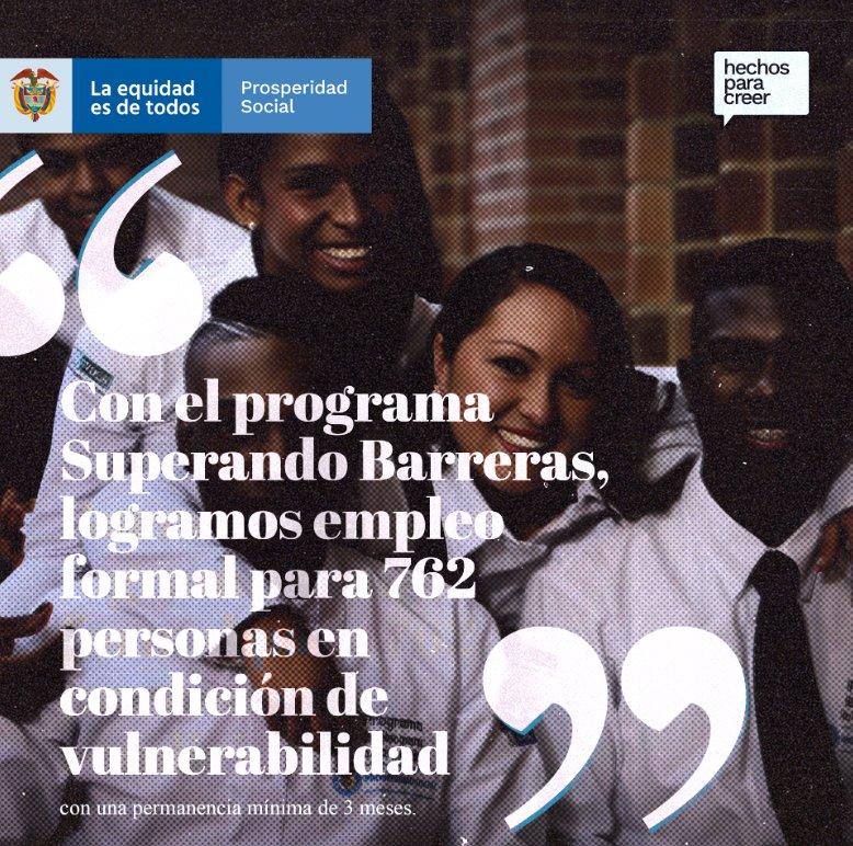 En 2019 finalizó la implementación del piloto del programa #SuperandoBarreras, desarrollado en las ciudades de Buenaventura y Cali, empleando a 762 personas en condición de vulnerabilidad y pobreza con una permanencia mínima de 3 meses. #AdelanteConEquidad y con inclusión laboral https://t.co/xjmlkYr8LM