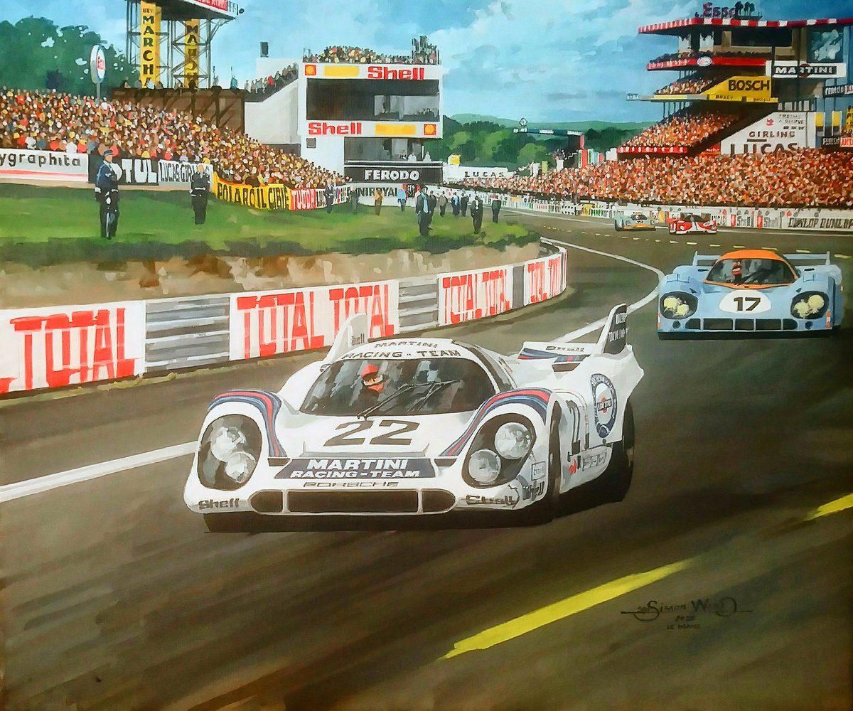 Gijs van Lennep & Helmut Marko take the Martini Porsche 917 to victory in the 1971 Le Mans 24 hours. Original painting Acrylic on canvas 24 x 20 inches #MartiniMonday https://t.co/ygGJSpNtrO
