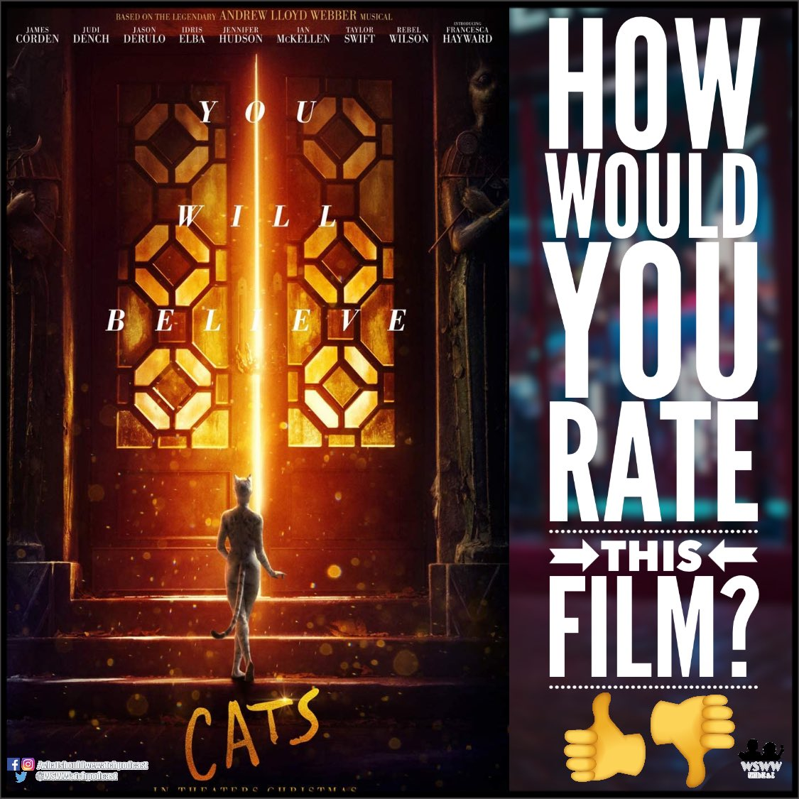 Be honest... whatcha' think? Check out our poll and leave a review in the comments!👍👎👌🤞 🚨🐈Listen to our take next week!🐈🚨 Listen to more here: 🍏spoti.fi/3hP89Uv #catsmovie #catsmusical #jelliclecats #jellicleball #memories #feverdream #PodNation #moviereview