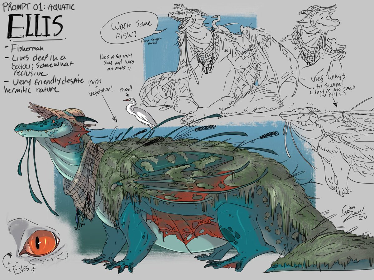 I'm very late but I'm happy with what I made :>  His name is Ellis and he's shy  - #Smaugust #smaugust2020 #SmaugustChallenge #dragon #creaturedesign #characterart pic.twitter.com/s0jn4VSyvU