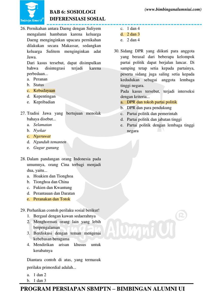 Cirol On Twitter Kunci Jawaban Bimbingan Alumni Ui Sosiologi Aku Ngerjain Semua Soal Ini Selama 12 Jam Untuk Persiapan Simak Ui Dan Mengejar Ketertinggalanku Yang Benci Sosiologi Total 281 Soal