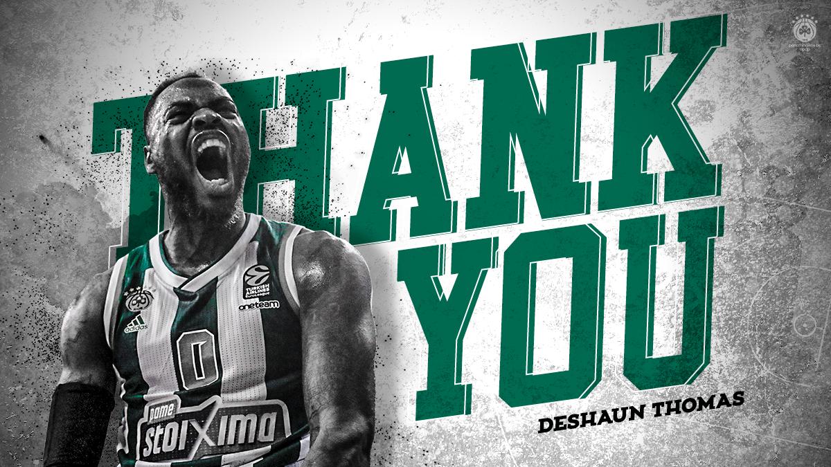 Η ΚΑΕ Παναθηναϊκός ΟΠΑΠ ευχαριστεί τον Ντεσόν Τόμας για την προσφορά του στην ομάδα και του εύχεται καλή συνέχεια στην καριέρα του! Thank you @Deshaunthomas_0 & good luck in your next step!🙏 #paobc #WeTheGreens #panathinaikos #panathinaikosbc #thankyou