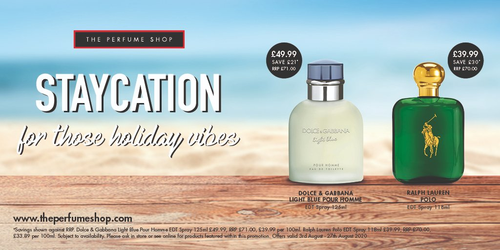 StayCation offers @ThePerfumeShop for those holiday vibes 3rd - 27th August #Stay20pic.twitter.com/Cv1IcJmkUm