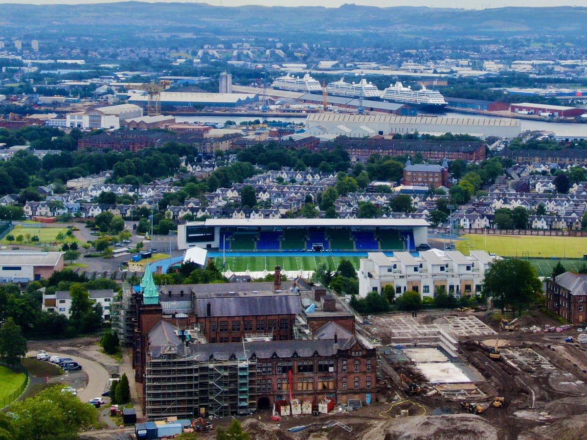 All in a row David Stow Building Glasgow Warriors Stadium a Trio of Cruise Ships #Glasgow #Scotland @CALAHOMES @GlasgowWarriors @PeelPorts @Azamara @GlasgowWEToday @Jordanhill_News #aerialphotography #dronephotography @heraldscotland @Glasgow_Times @proGlasgow2016 @glasgowlifepic.twitter.com/Q9BmAwipHD – at The Glasgow Acadamey Sports Grouund