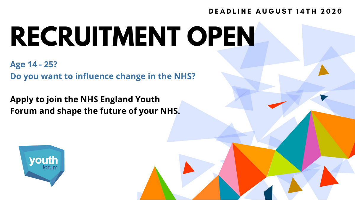 Apply to join the next NHS England Youth Forum now: bit.ly/39PbXCa #youthvoice