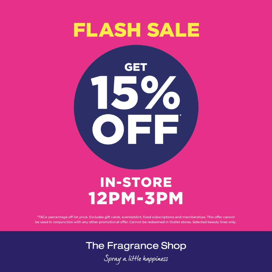 FLASH SALE 12 - 3pm today instore 15% OFF @FragranceShopUK #TheFragranceShopClydebank #flashsalepic.twitter.com/UcBGYh4GEv
