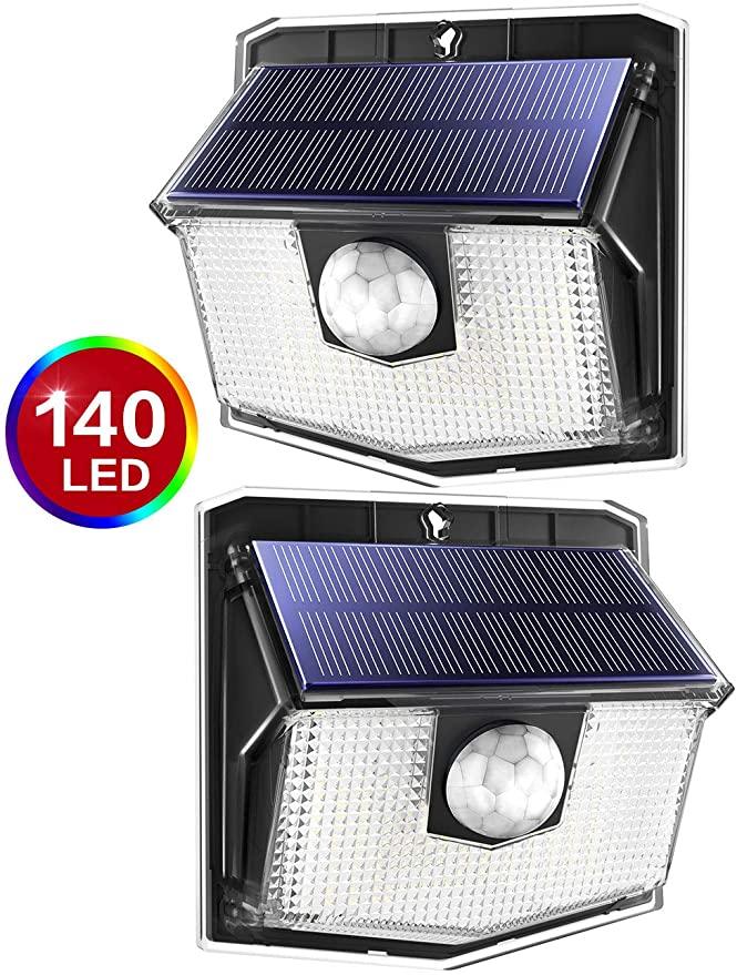 140 LED Solar Lights Outdoor, Mpow Motion Sensor Security Light 3 Modes - £16.14