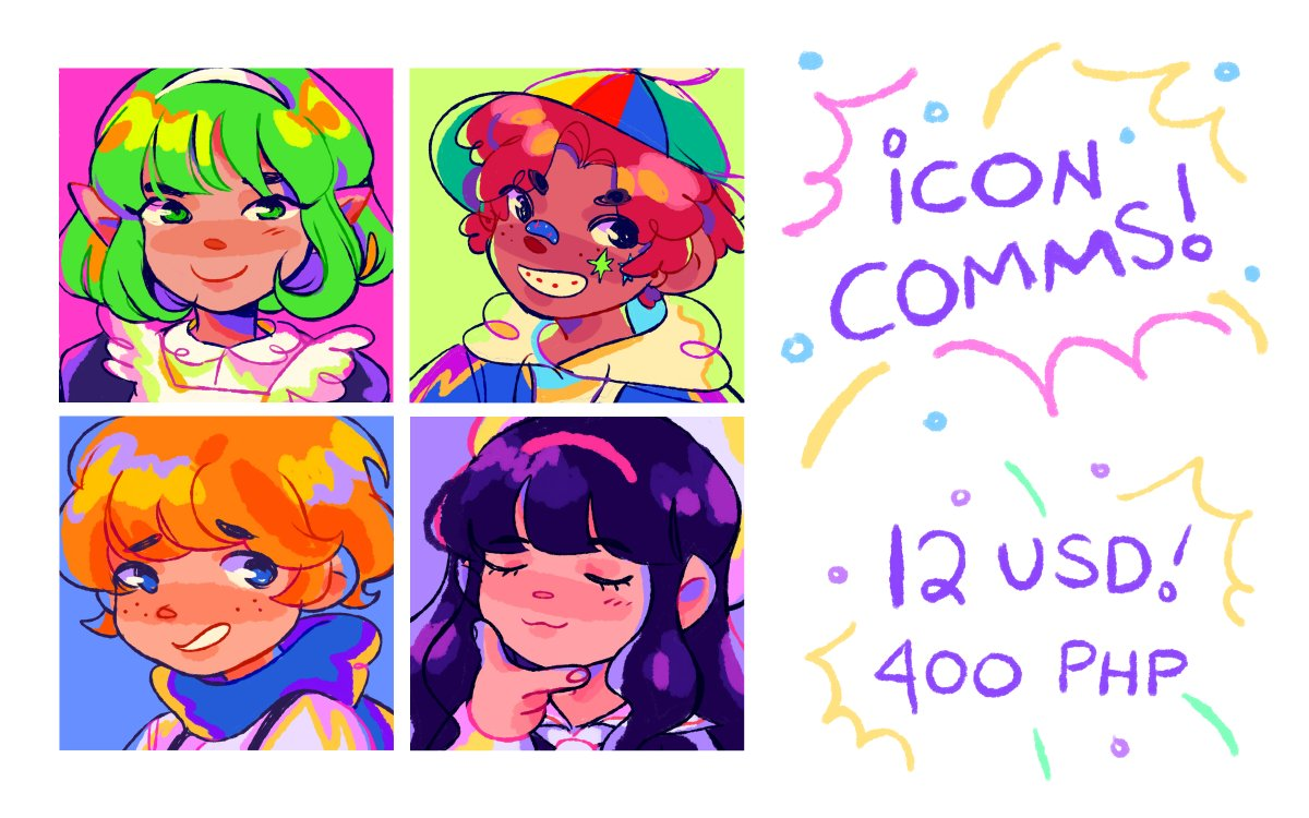 opening icon comms again! i can draw any character/person for 12 usd/400 php! 70% of the proceeds go to students who are in need of equipment for online learning :0 look into this tweet for more info!