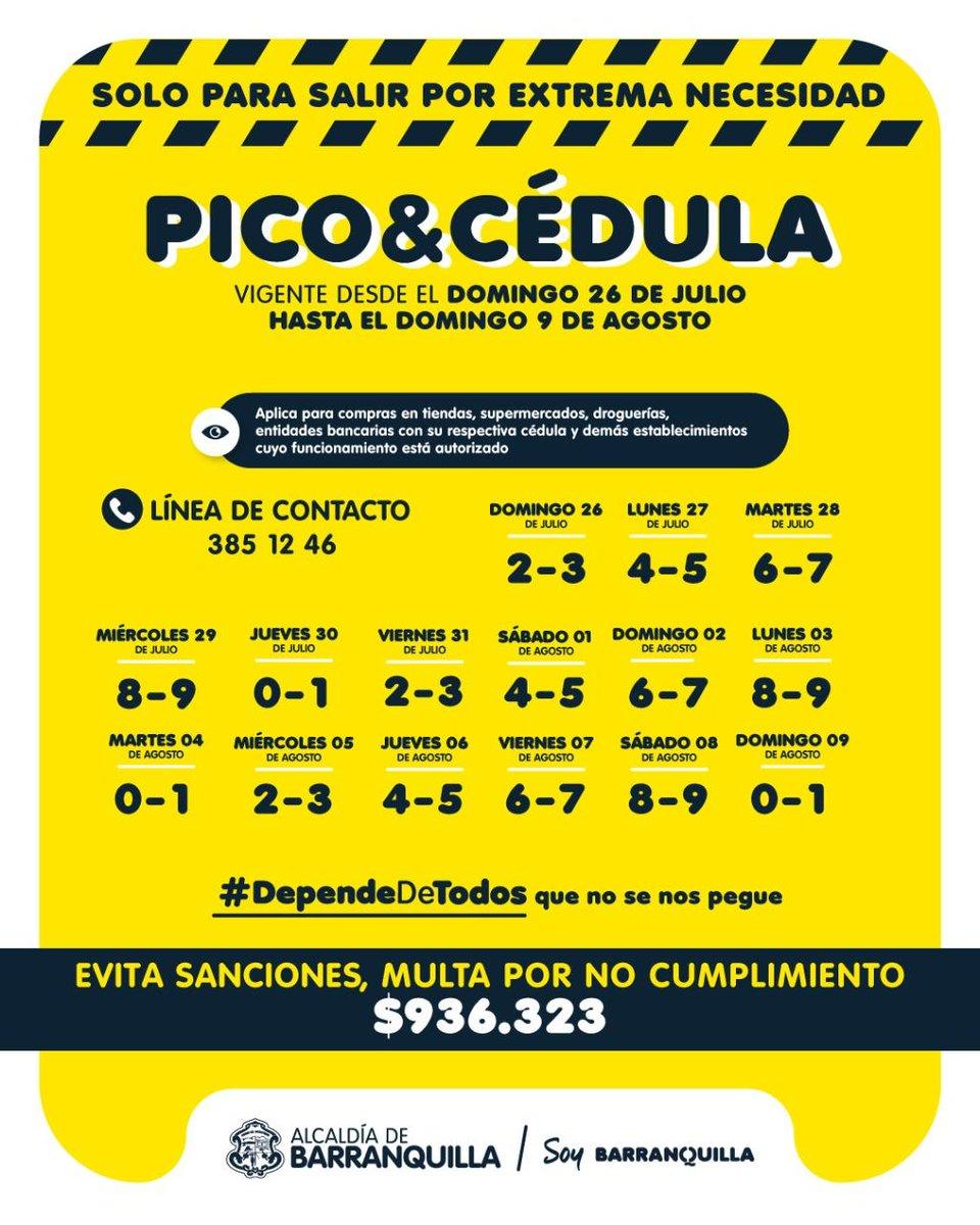 Revise si le toca pico y cédula hoy en Barranquilla. https://t.co/q7kqFrtZZQ
