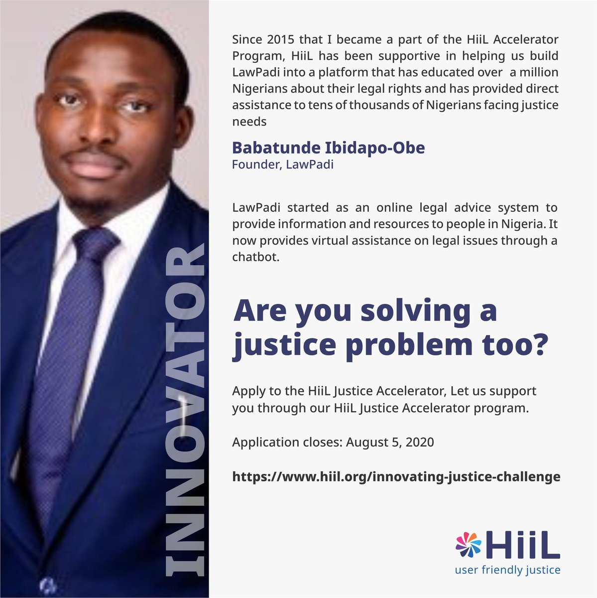 3 days to go!!!  Applied for the Hiil Innovating Justice Challenge or yet to complete your application?  Applications close by August 5.  Apply here: https://t.co/Y9er7Mk5Be  #justinnovate #innovatingjusticechallenge2020 #accesstojustice #SDGs #SDG16 https://t.co/wzaxAReP4k