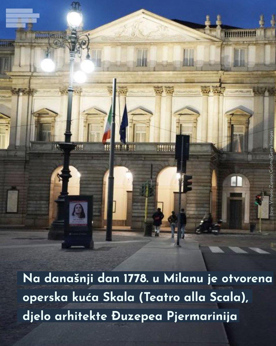 Milanska skala ili Teatro alla Scala je jedan od najvažnijih simbola italijanske kulture i umjetnosti. Jedna od najljepših operskih kuća u svijetu smještena je na Piazza della Scala, a opera se iz ovog zdanja po prvi put čula 3. avgusta 1778. godine. pic.twitter.com/68ZZtOQTKt