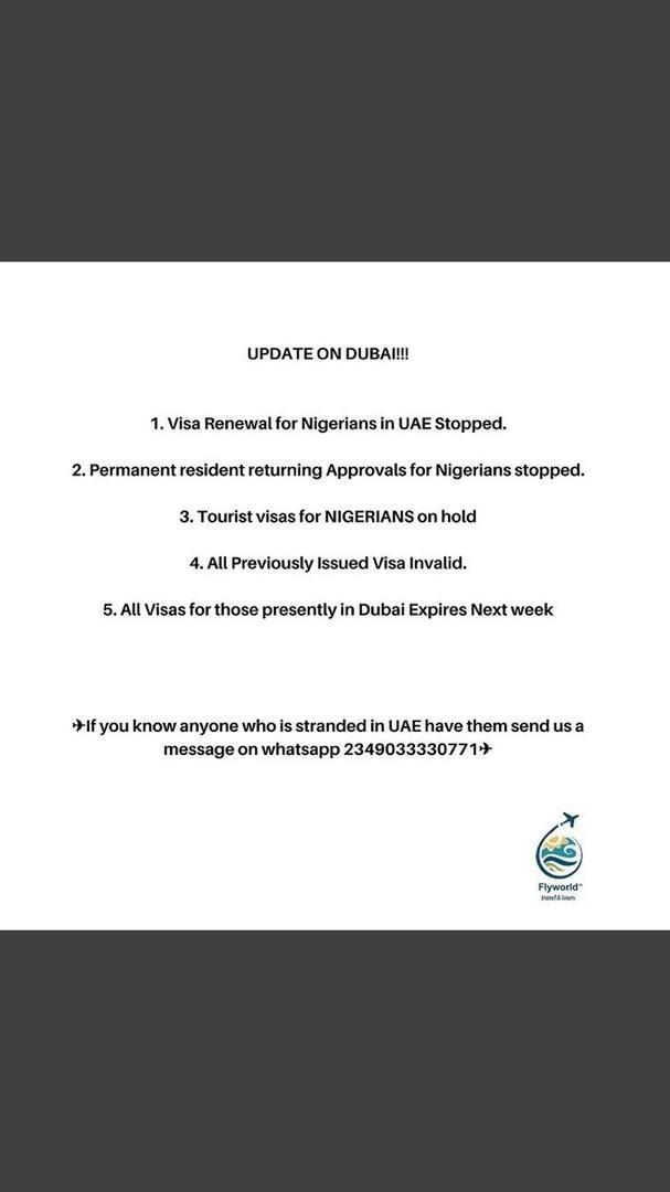 Attention Nigerians. Update on #Dubai pic.twitter.com/1cLaFAzg7O