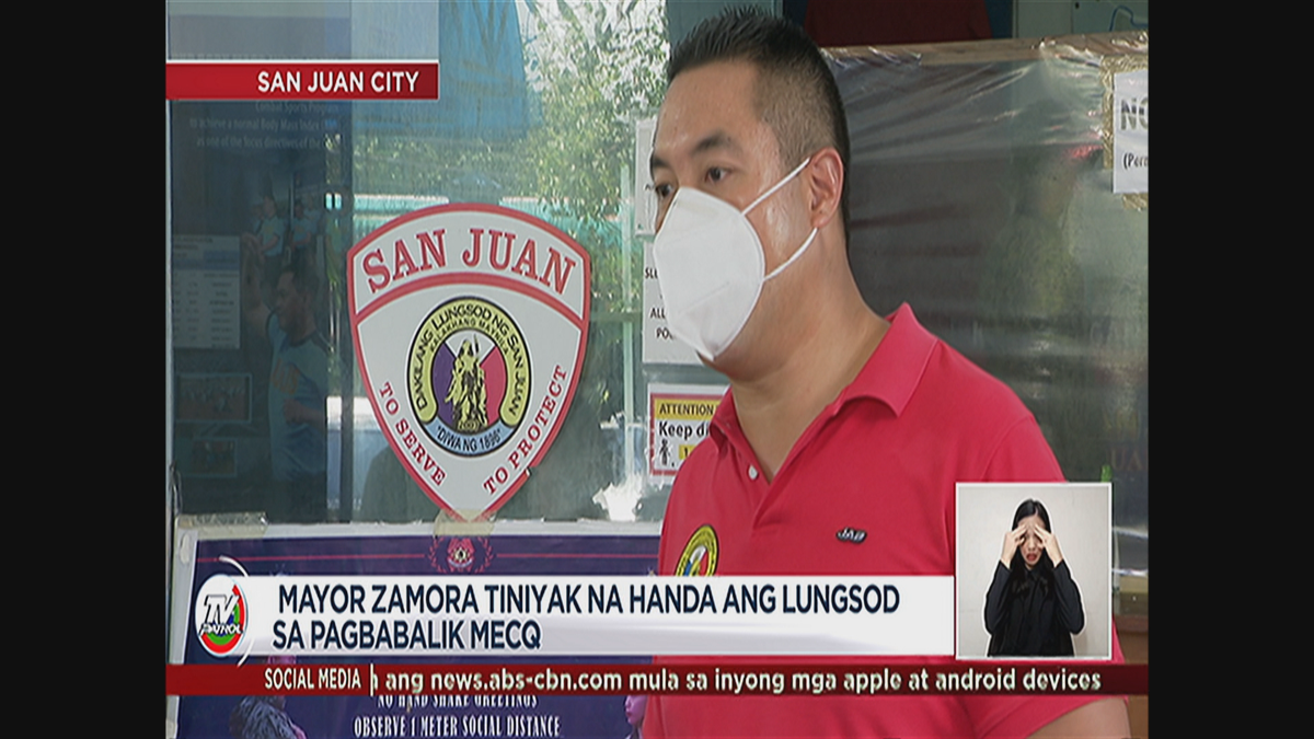 #TVPatrolLive Tiniyak ni Mayor Zamora na handa ang San Juan sa pagbabalik sa modified enhanced community quarantine. #COVID19Quarantine | @angelmovido