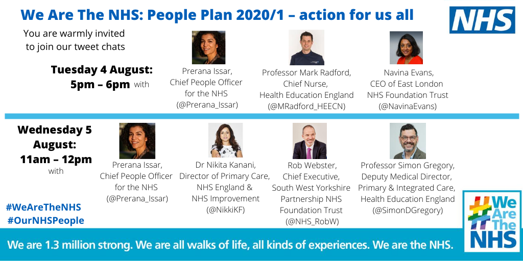 Please join us tomorrow or Wednesday. Well be discussing how we can use the ambitions set out in our #nhspeopleplan to make real and lasting change and keep #OurNHSPeople at the heart of everything we do. #WeAreTheNHS #NHS