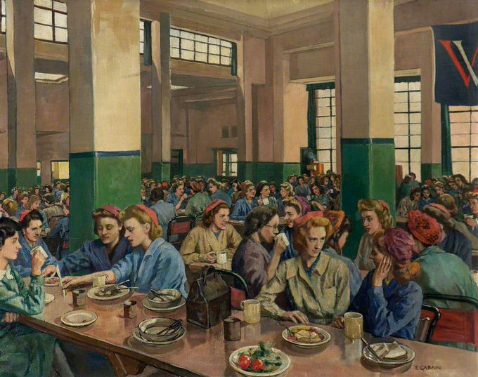 Women Workers in the Canteen at Williams & Williams, Chester (1940s) by Ethel Leontine Gabain, commissioned as a UK WW2 artist #womensart