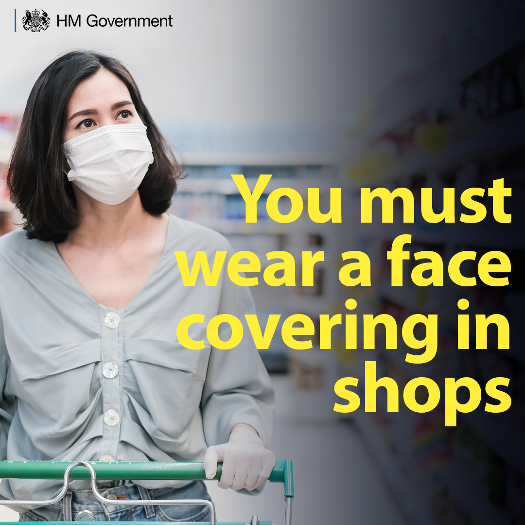 Most people HAVE to wear a face covering in shops and supermarkets.  Face coverings should cover your nose and mouth  Please remember they don't replace social distancing. - stay 2m away from others - wash your hands thoroughly.  http://orlo.uk/Ti28Epic.twitter.com/BDp9wMkcrT