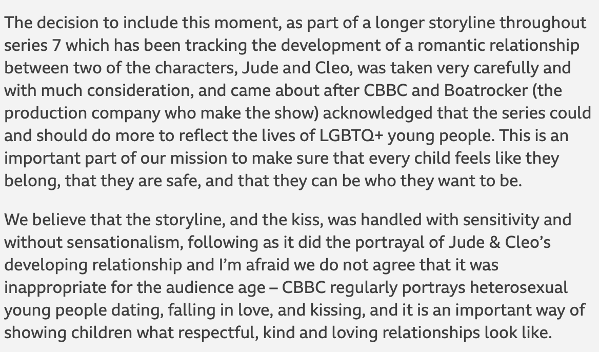 CBBC received complaints about a same-sex kiss in one of their storylines (The Next Step).  Here's their response. It's simply A+. https://t.co/bmV2E3zIF9