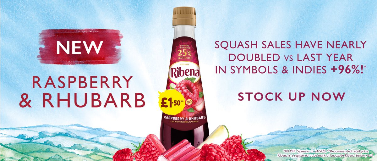 Introducing a brand new Ribena Raspberry & Rhubarb squash flavour from @LRSuntory  Available in 600ml bottles price-marked at £1.50, stock up on a great-tasting summery squash beverage, now! #wholesale #beverages #Raspberrypic.twitter.com/SOnNlo6zvS
