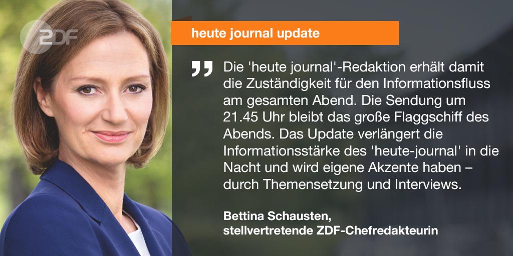 """Das #ZDF-@heutejournal vergrößert seine Sendefläche: Ab dem 7. September 2020 gibt es wochentäglich gegen Mitternacht ein """"heute journal update"""". https://t.co/rUgJY5UONM https://t.co/bhcdUccvqC"""