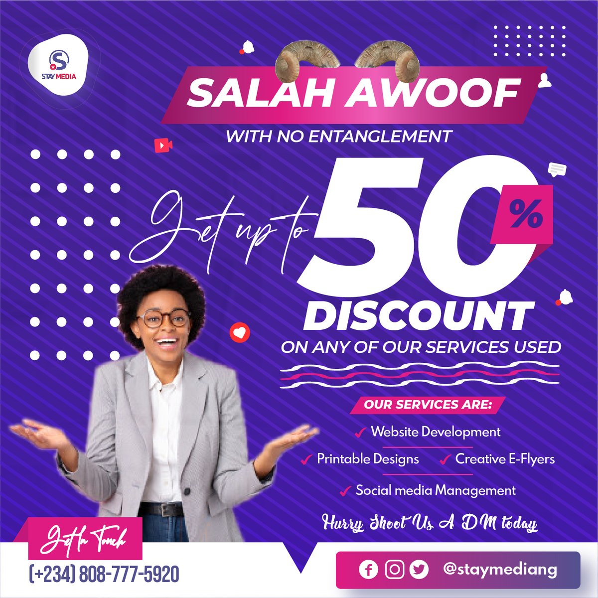 An Awoof without an Entanglement? Yeah, You heard right. Take this amazing offer of 50% discount on any of our services this Salah season.  We're just a d.m away!  #staymediang #staymedia #debugging #programmerjokes #wednesdaywisdom #wednesdayvibes #wednesdaymotivation pic.twitter.com/uBPPMCTKz2