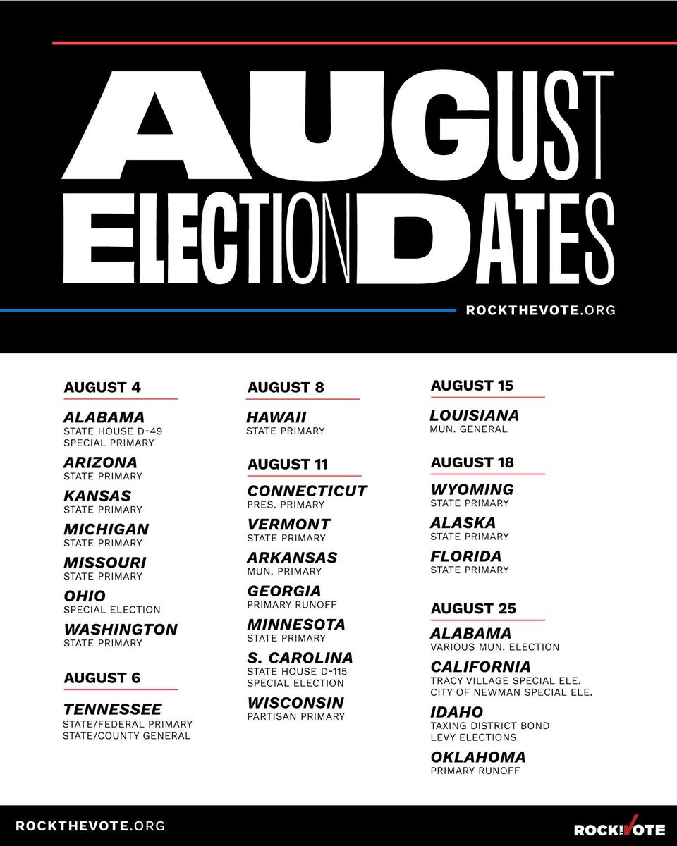 Were crunching away at our days leading up to the big day! But August has elections to offer at the local and state level. Find your state and make your voting plan, were voting every month in 2020! #RockTheVote