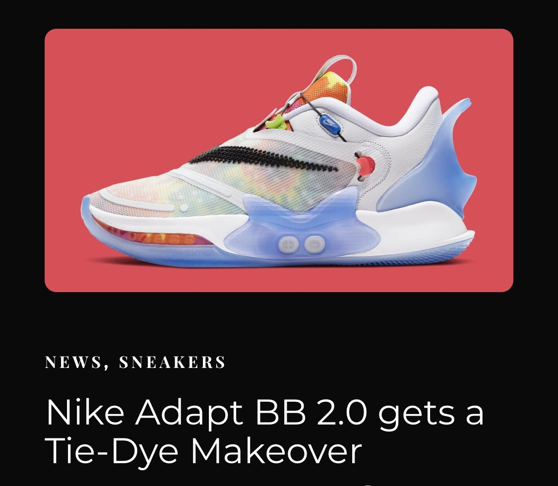 #Nike Adapt BB 2.0 gets a Tie-Dye Makeover – Tap on the link to read: https://streetsense.co.in/nike-adapt-bb-2-0-gets-a-tie-dye-makeover/ … • #sneakerheads #sneakernews #SneakerScouts #sneakerhead #streetwear #streetsense #sneakers #sneakerblog #nikesneakers #nikeshoes #JustDoItpic.twitter.com/wq0k3PD5Zj