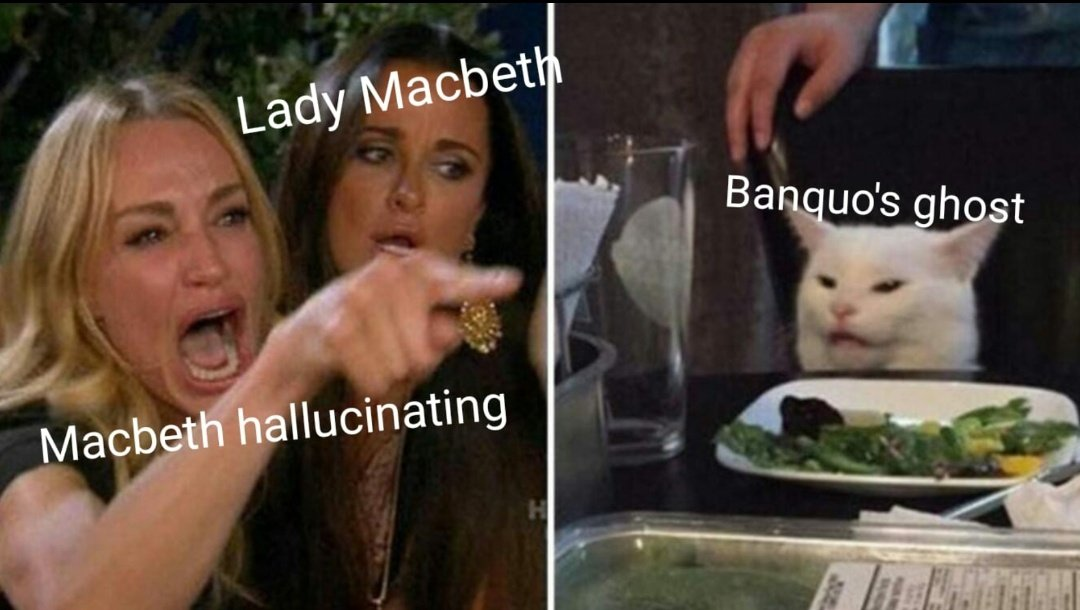 Classic meme, classic Macbeth. Another one I use in lessons, grabs the attention somewhat!