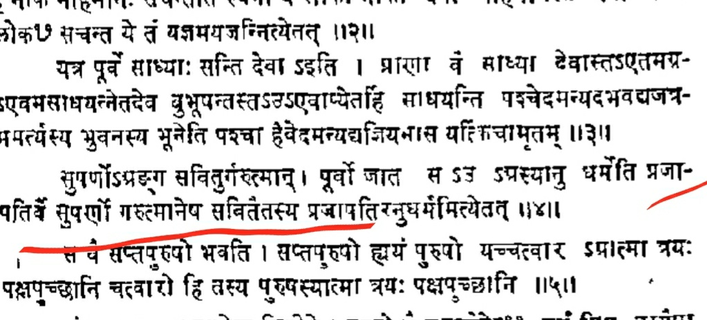 Prajapati means Sun (Shatpath Brahman 10.2.2.4) Prajapati is used for Sun because sun sustains all Humans, plants and animals, source of energy for all our food. That's why Sun is called Prajapati.