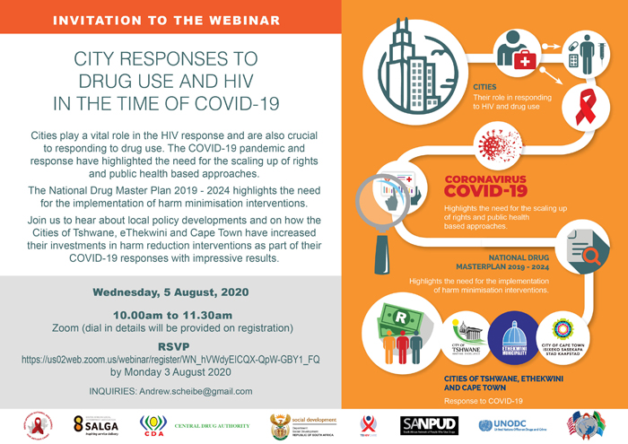 Check out this 👇🏾webinar tomorrow with @PEPFAR partners @SA_AIDSCOUNCIL and @TBHIVCare, on the intersection of #HIV, drug use, and #COVID19. We are committed to reaching all vulnerable populations in our drive towards HIV epidemic control. #MakeHIVHistory #PEPFARSavesLives https://t.co/SbZecK53c6