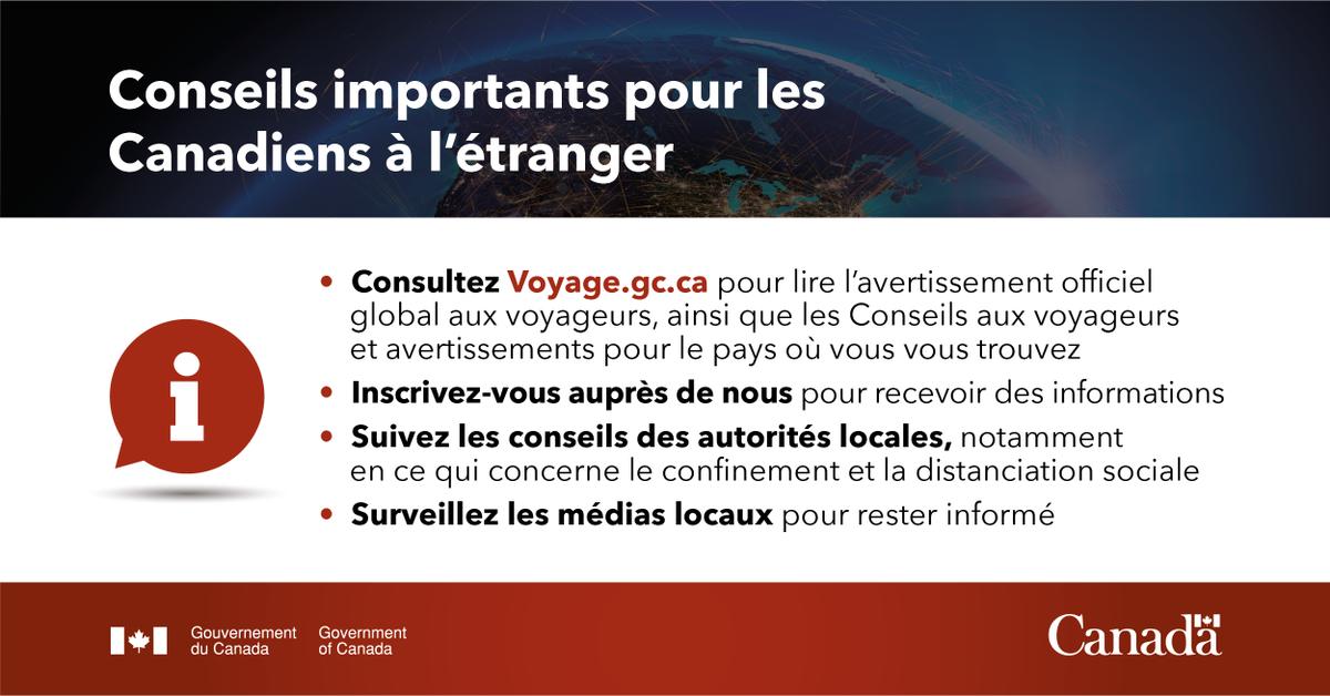 Votre sécurité est notre priorité.  Si vous êtes à l'étranger, suivez nos conseils ⬇️  https://t.co/v25IY3vVIf    #COVID19 https://t.co/PfKVQnX6un