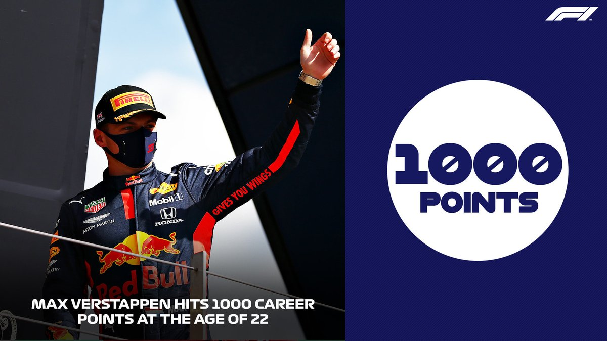 22 Years old.  1000 Career points.  👏🏻👏🏻👏🏻👏🏻👏🏻👏🏻  #MaxVerstappen #F1 #MightyMax https://t.co/WO648pSeEt