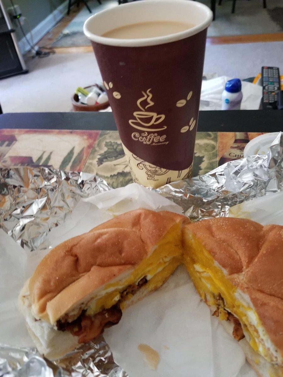 #BreakfastTime Fresh From The #BagelShop #Deli #BaconAndEgg On A #Roll & #Coffee Yummy !!