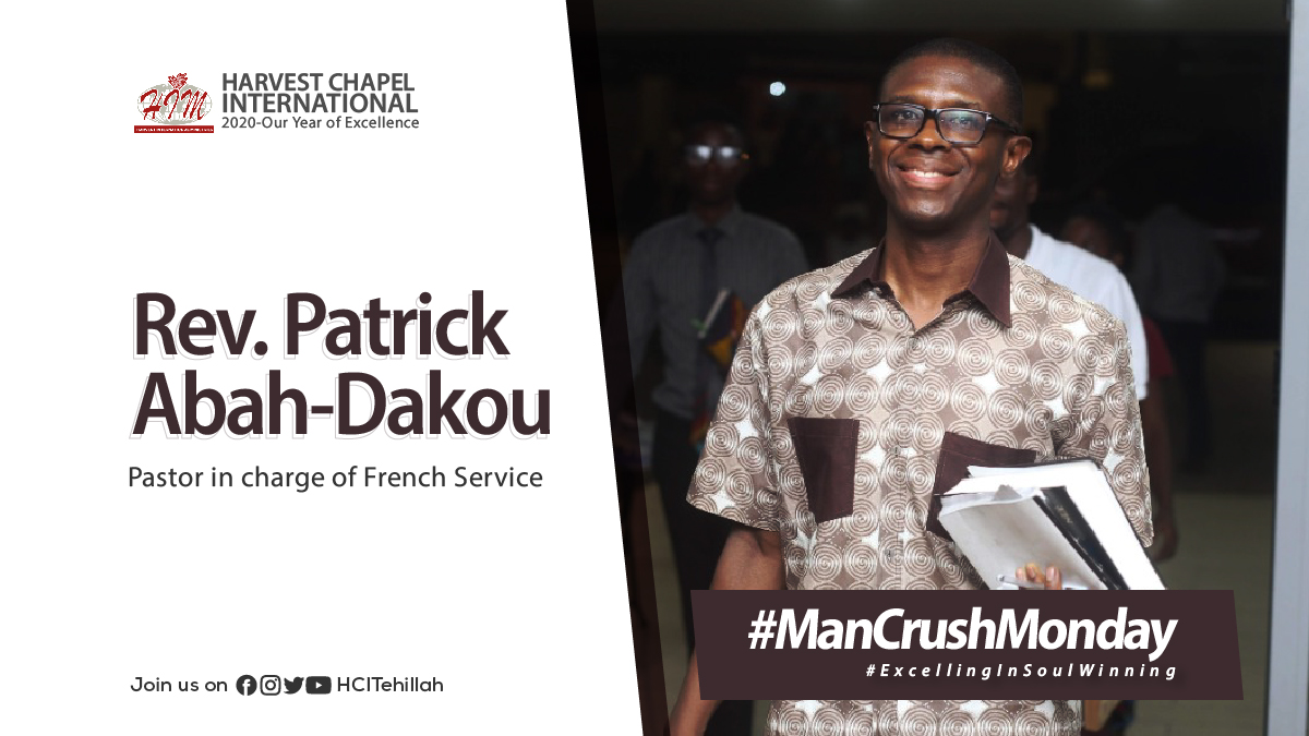 """Meet Rev. Patrick Abah-Dakou, our #MCM for today. He's the pastor in charge of our French services and a great family man. Say """"Bonjour"""" to Rev the next time you meet him at church.  Nous t'apprécions, révérend! #ExcellingInSoulWinning #StaySafe #HarvestIsHome #ManCrushMonday https://t.co/jHzujYcgzt"""