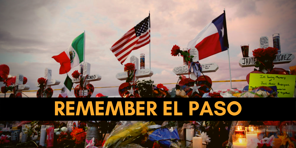 One year ago, in the beautiful bi-national community of El Paso, 23 people were killed and 22 wounded — an act of anti-Latino terror motivated by hate. We must honor their lives by disarming hate, dismantling white supremacy and healing our nation with love. #ElPasoStrong