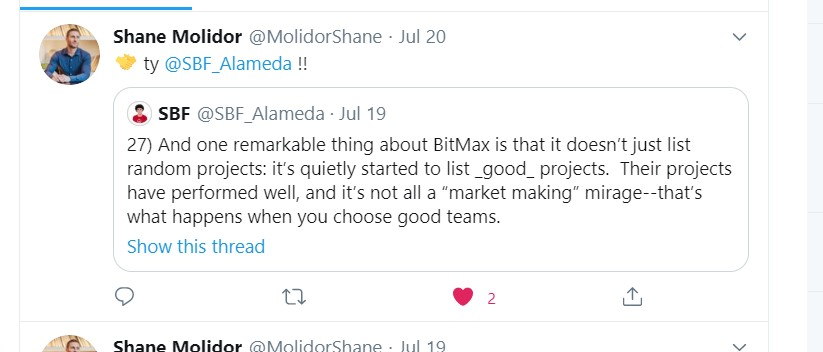 Nope.  Instead listen to this;  - Bitmax recently succesfully listed several projects - Sam has given praise to Bitmax for this - Shane Molidor head of BD @ Bitmax is advisor of Project Serum  Bitmax will host token sale and list $SRM   Writing's on the wall frens.  $BTMX or bustpic.twitter.com/nZTzjJDEvG