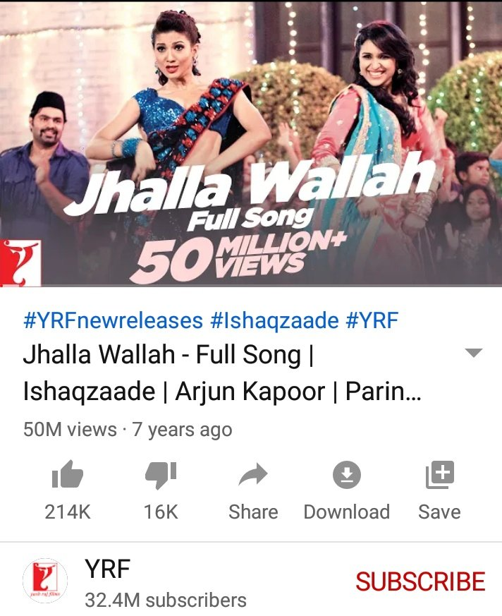 Amazing 50 M views for #JhallaWallah  Yes!!! The vibrant hit #JhallaWallah from the movie #Ishaqzaade has crossed 50 M golden views on YT. The song is a musical treat by the hit making combo of @shreyaghoshal - @ItsAmitTrivedi, penned by #KausarMunir ft @ParineetiChopra  ✌️👏💃