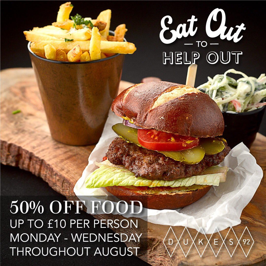 There's now even more reason to love #Dukes92 this summer with the Government's Eat Out to Help Out scheme🍴  Enjoy 50% off food & non-alcoholic drinks, up to £10 per person as many times as you like Mon-Wed throughout August Book a table at https://t.co/5QZvquXIZN #Manchester