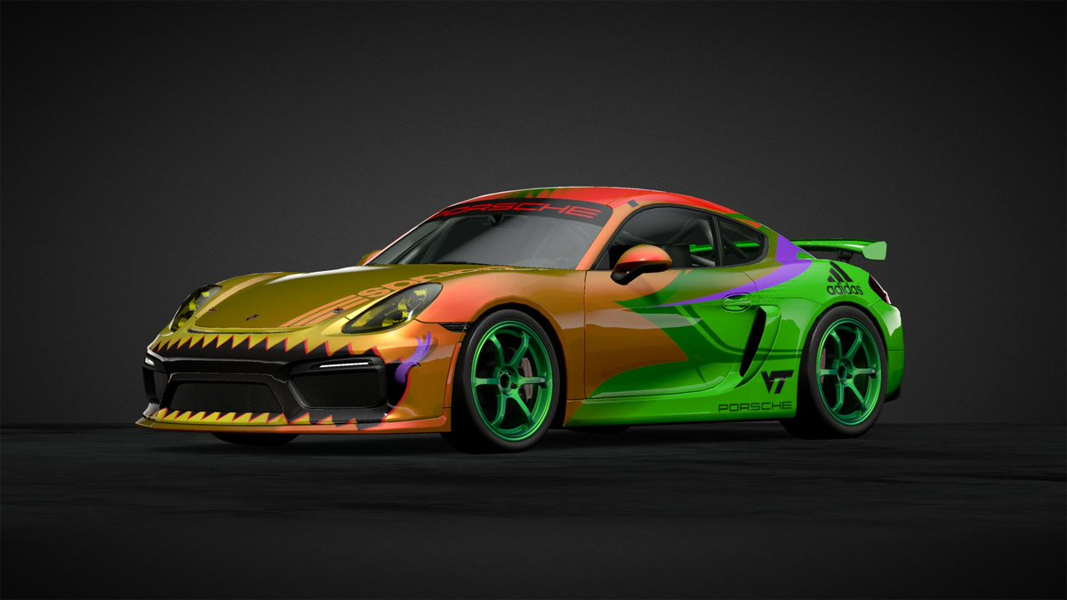 Dear #Blu3GTSportDiary,  I think I've spent more time making liveries than racing in #GTSport, lol  My latest design spawn to add to my #GreenHellMonster collection #GreenHellMiniMonster Gr. 4 livery for round 29 at Nurburgring GP  #GoHokies  #Hokiespeed #TeamAdidas  #TeamPorsche https://t.co/6shPmmHqts