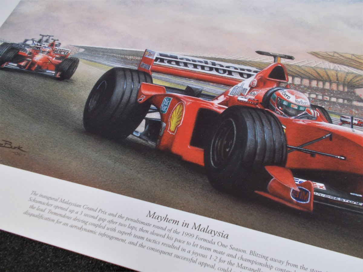 """Let me get back to 21 years ago, painting number 4, and the """"Mayhem In Malaysia!"""".........well, not quite 21 years ago,....17th October 1999, Schumacher was back, and playing team mate to Eddie Irvine in his title chase.  #fineart #f1 #Ferrari https://t.co/waHwE70JwP"""