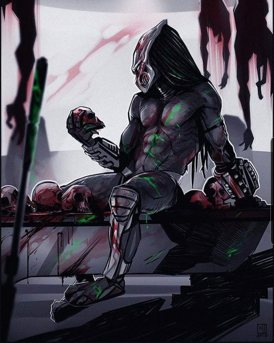 Sometimes you just need to take a moment to appreciate all the skulls you've taken. Artist unknown, please shout out if you know. #Predator #Yautjapic.twitter.com/r5in0cq0hM