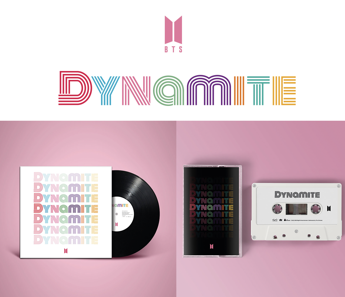 """BTS limited edition vinyl and cassette featuring the upcoming single """"Dynamite"""" is available for pre-order now! #BTS_Dynamite // https://t.co/ucwutiNc5h https://t.co/BMl1tX8HFl"""