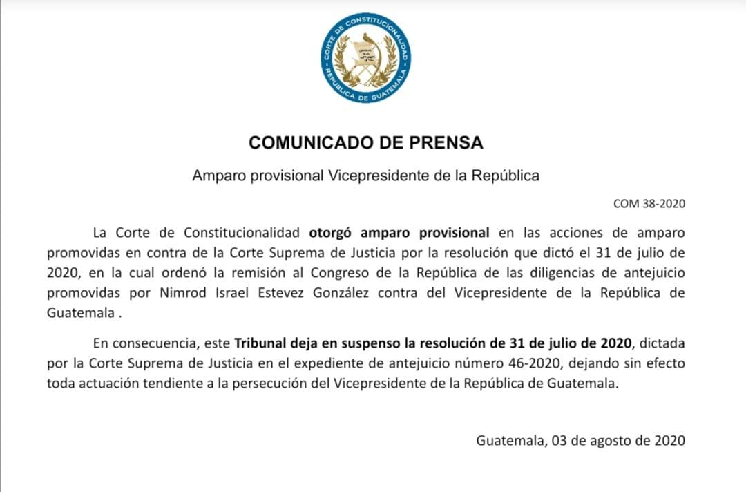 test Twitter Media - #URGENTE La CC otorga amparo provisional al vicepresidente Guillermo Castillo. https://t.co/uznVDWlw2g