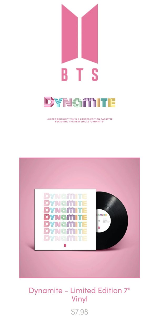 """[#BTS_Dynamite merch]  BigHit dropped limited editions Vynil & Cassette for @BTS_twt upcoming single """"Dynamite""""!   http://www.bts-dynamite.us/  (Shipping of the Vynil and cassette is limited to the U.S)pic.twitter.com/vhvwqGLB7h"""