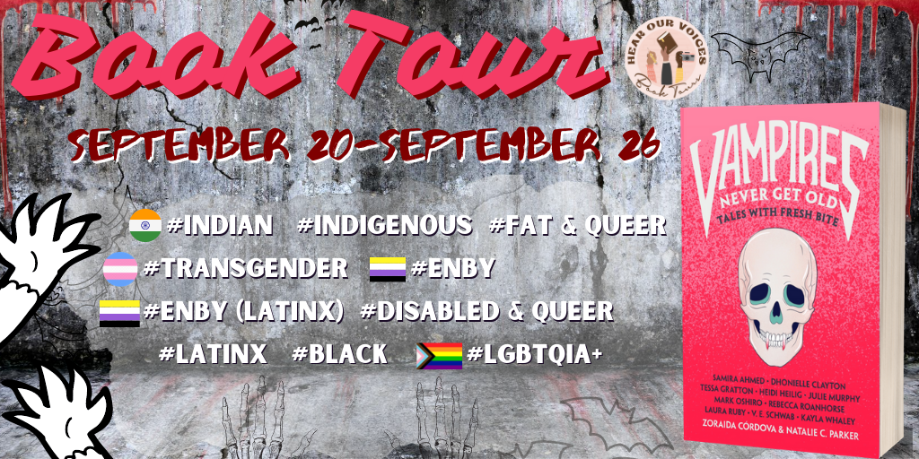 Sign-ups for the VAMPIRES NEVER GET OLD ANTHOLOGY are in your inbox or link below! If youre INDIAN, INDIGENOUS, TRANS, ENBY, ENBY (LATINX), QUEER & DISABLED, LATINX, BLACK, LGBTQIA+ and/or FAT & QUEER this is for you! hearourvoicesbooktours.com/2020/08/03/tou… READ sign-up post CAREFULLY! 🤩