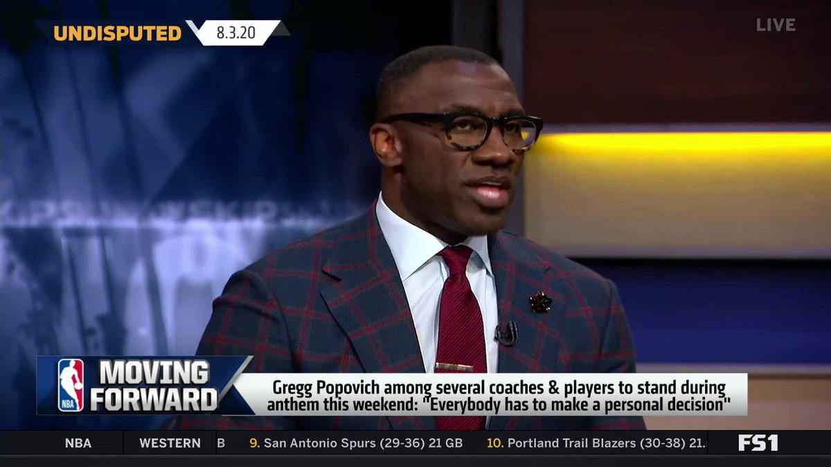 .@ShannonSharpe explains why he doesn't have an issue with players & coaches standing during the National Anthem