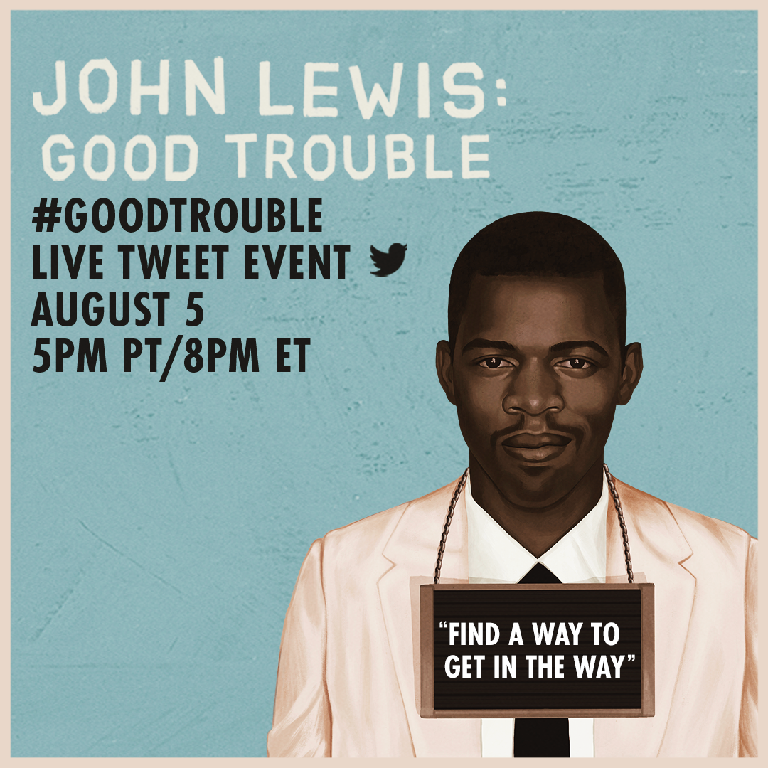 Join us tonight as we watch and discuss #GoodTrouble in celebration of Rep. John Lewis. #DSTRedCarpet https://t.co/em40jldeBd