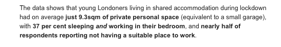 This from a press release on new LSE research into young people in house-shares during lockdown. Anyone talking about how working from home is here to stay needs to factor this in. 9.3 square metres of personal space - to live and work in, 20+ hours a day